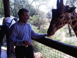 Michael and Jock the giraffe